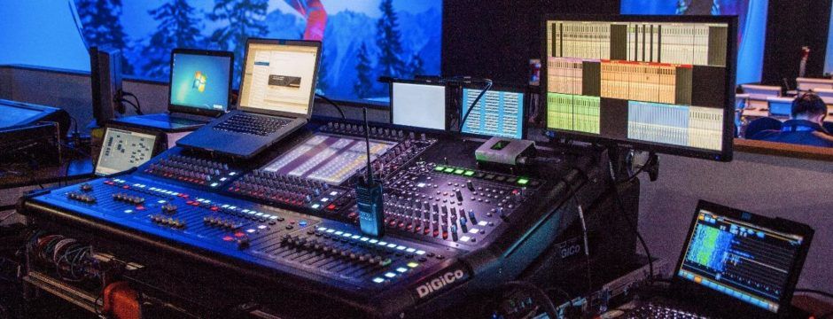 The mixing desk used to merge feeds from interpreter booths and feed delegaye receivers