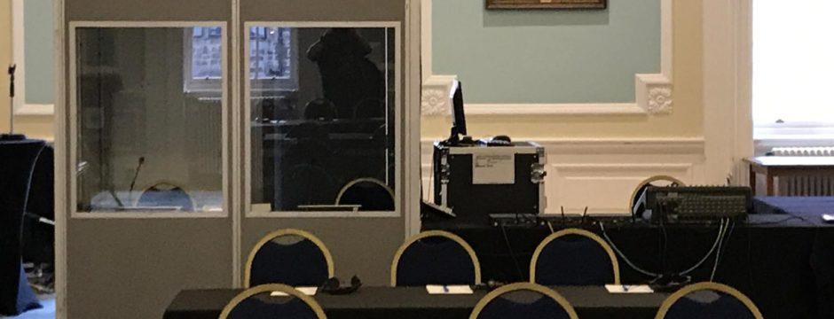 Single interpreter booth set up in Playfair Hall, Edinburgh. Infra red emitter on roof