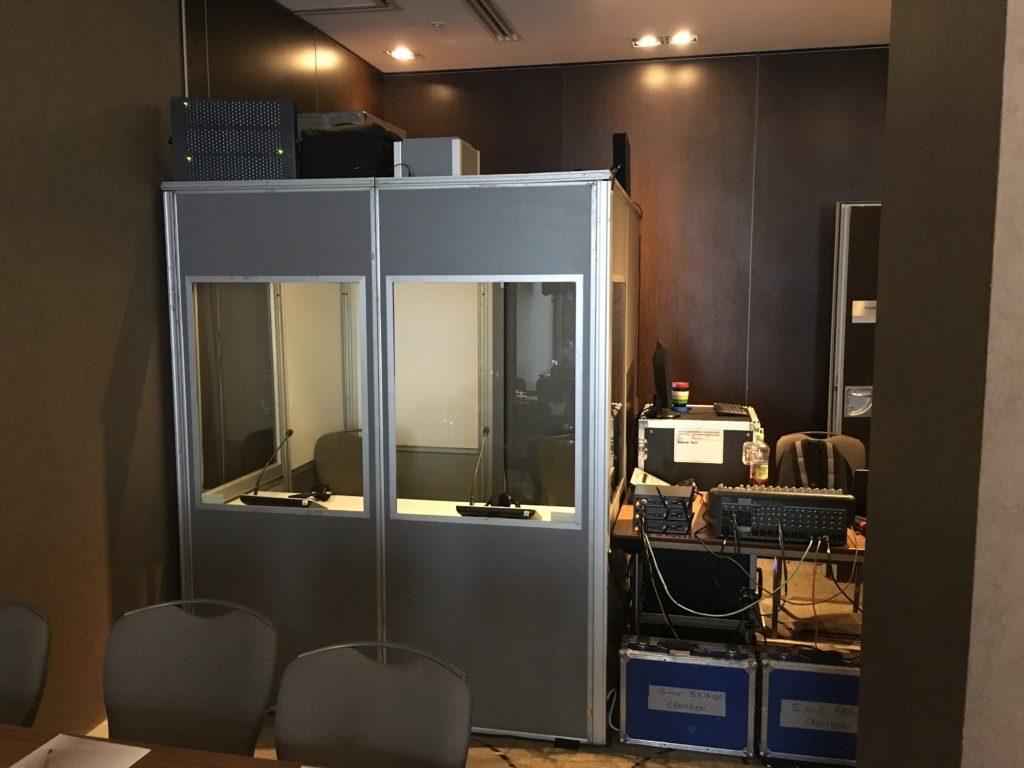Single interpretation booth set up in Hampton by Hilton, Croydon